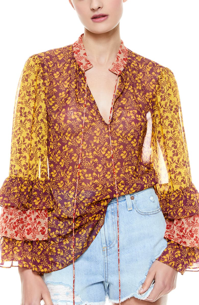 ALICE + OLIVIA Justice Tiered Ruffle Sleeve Blouse, Main, color, ROME FLORAL - BOYSENBERRY/COMO