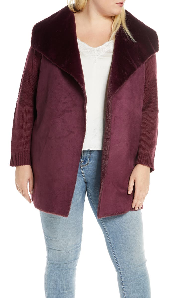 SINGLE THREAD Sweater Jacket with Faux Fur Trim, Main, color, WINDSOR WINE