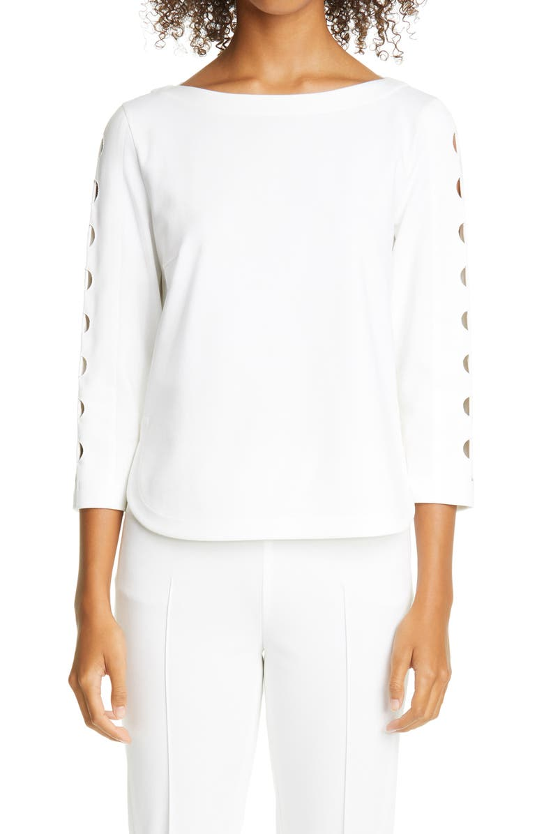 AKRIS PUNTO Cutout Sleeve Top, Main, color, CREAM