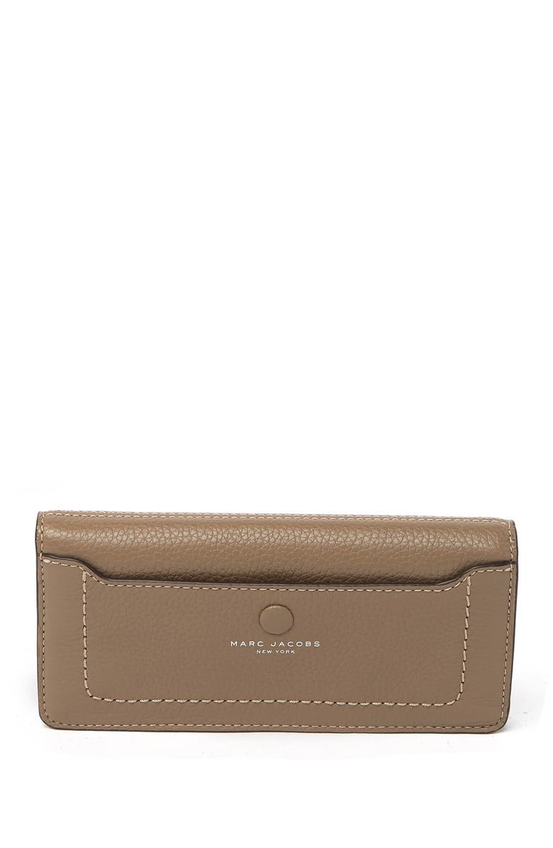 MARC JACOBS Open Face Leather Wallet, Main, color, FRENCH GREY