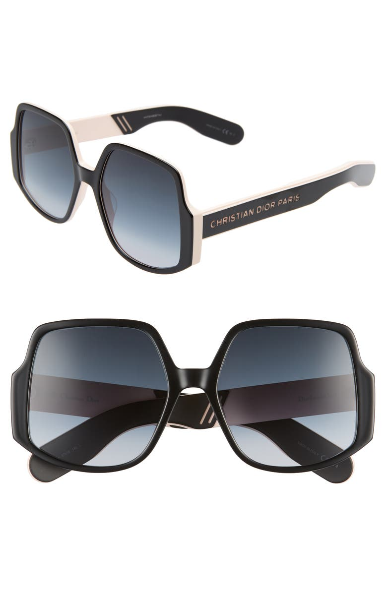 DIOR Inside Out 57mm Square Sunglasses, Main, color, 001