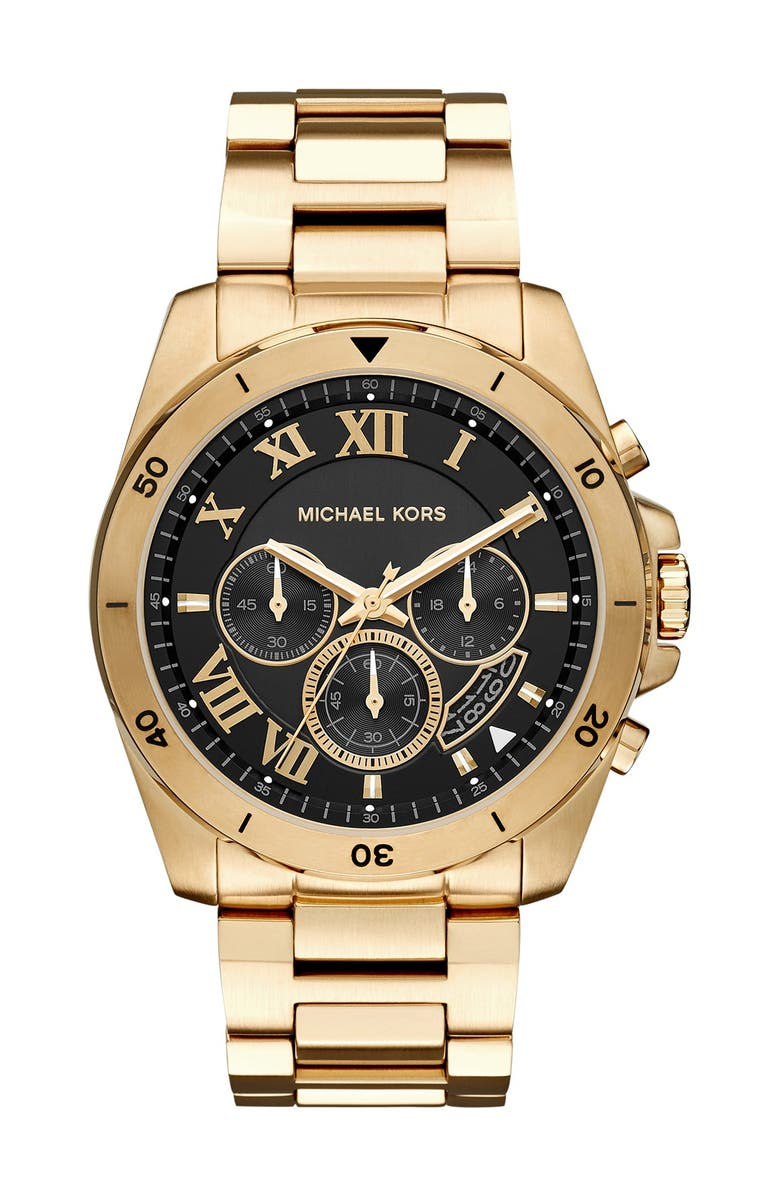MICHAEL KORS 'Brecken' Chronograph Silicone Strap Watch, 44mm, Main, color, 000