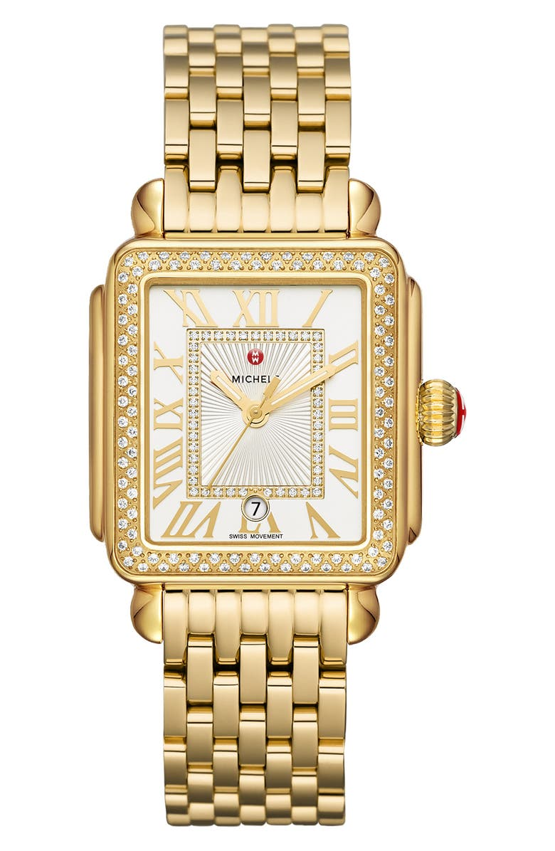 MICHELE Deco Madison Mid Diamond Watch Head & Bracelet, 33mm, Main, color, GOLD/ SILVER