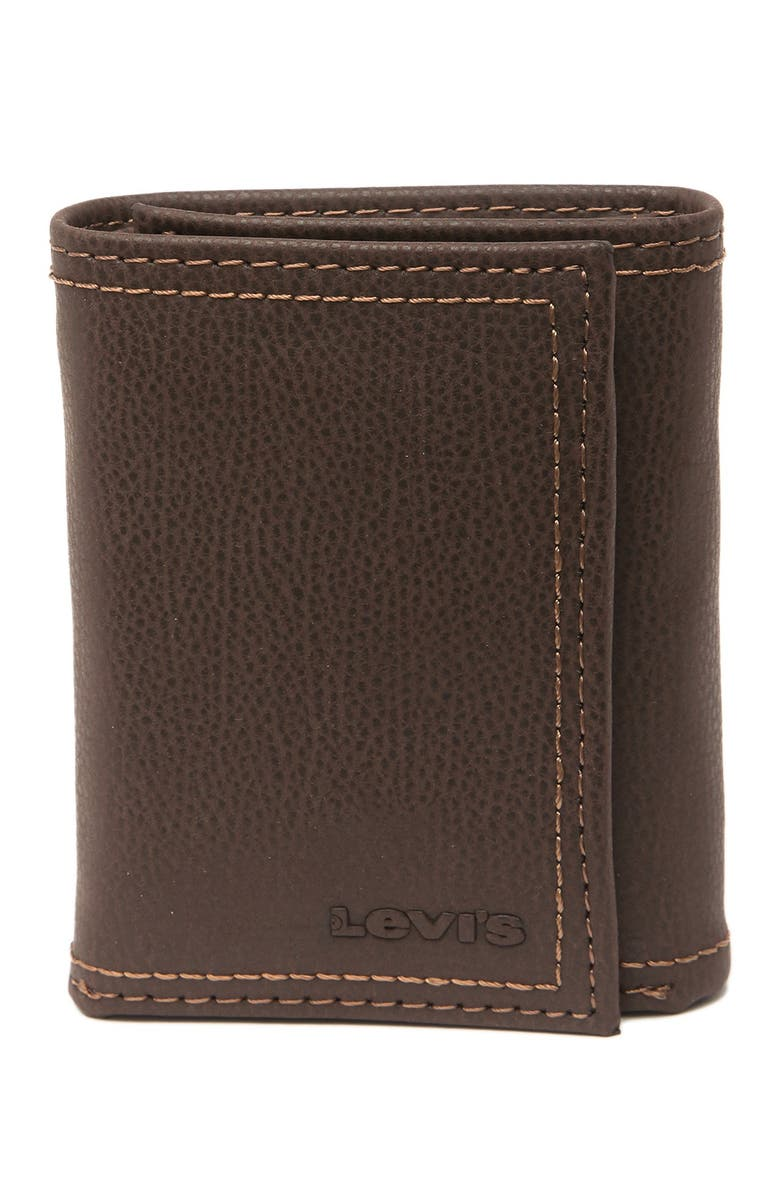 LEVIS RFID Leather Tri-Fold Wallet, Main, color, BROWN