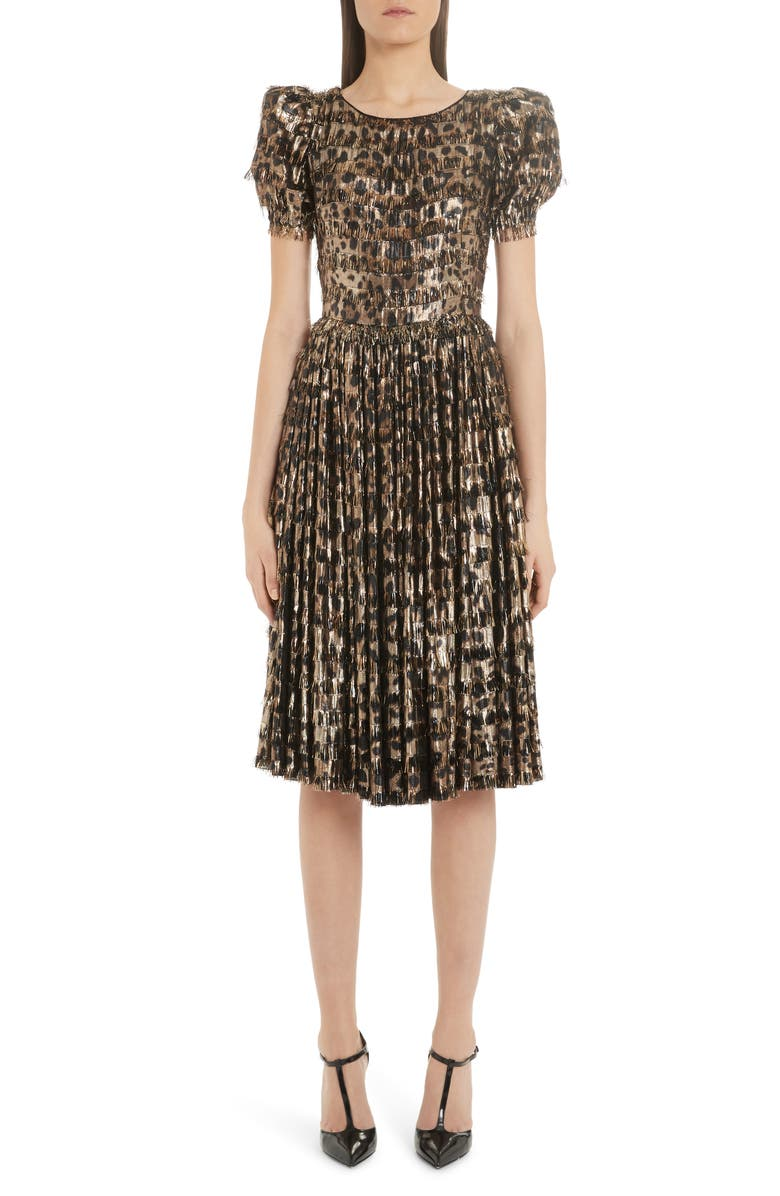 DOLCE&GABBANA Lamé Leopard Print Silk Blend Dress, Main, color, 230