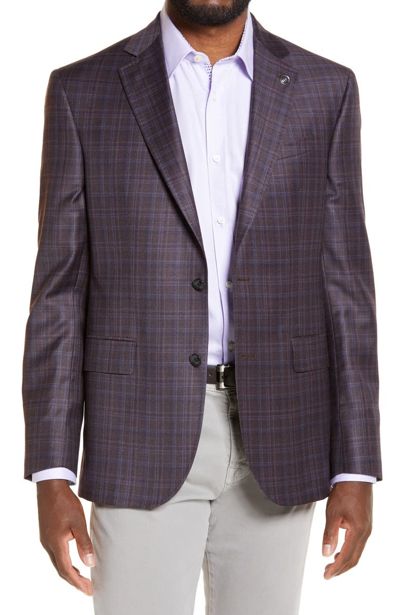 TED BAKER LONDON Jay Trim Fit Plaid Wool Sport Coat, Main, color, BERRY