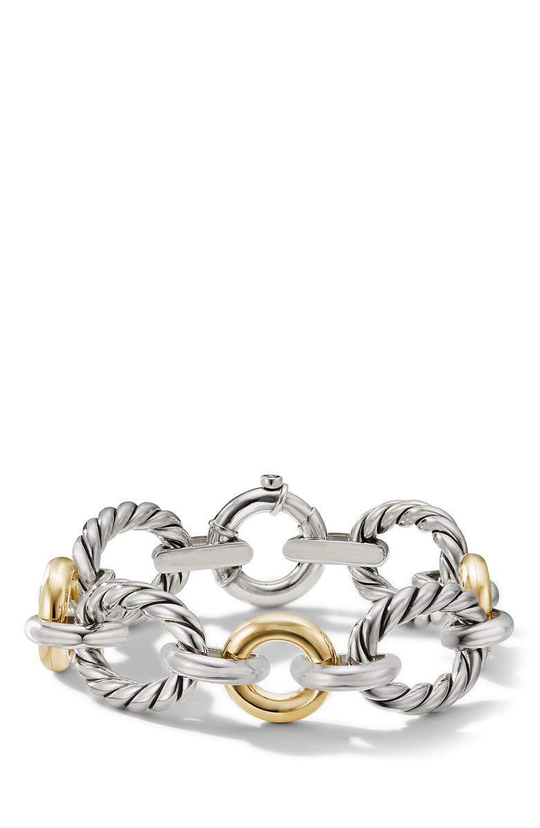 DAVID YURMAN Cable & Smooth Chain Link Bracelet, Main, color, YELLOW GOLD/SILVER