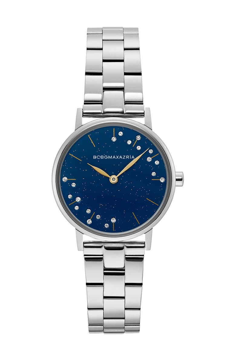 BCBGMAXAZRIA Women's Mineral Crystallized Blue Stainless Steel Watch, 32mm, Main, color, SILVER