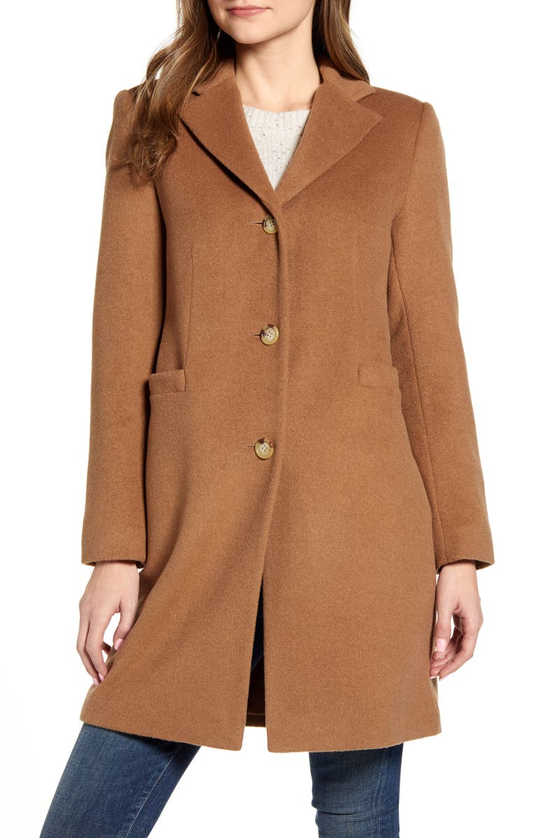 LAUREN RALPH LAUREN Wool Blend Reefer Coat, Main, color, NEW VICUNA