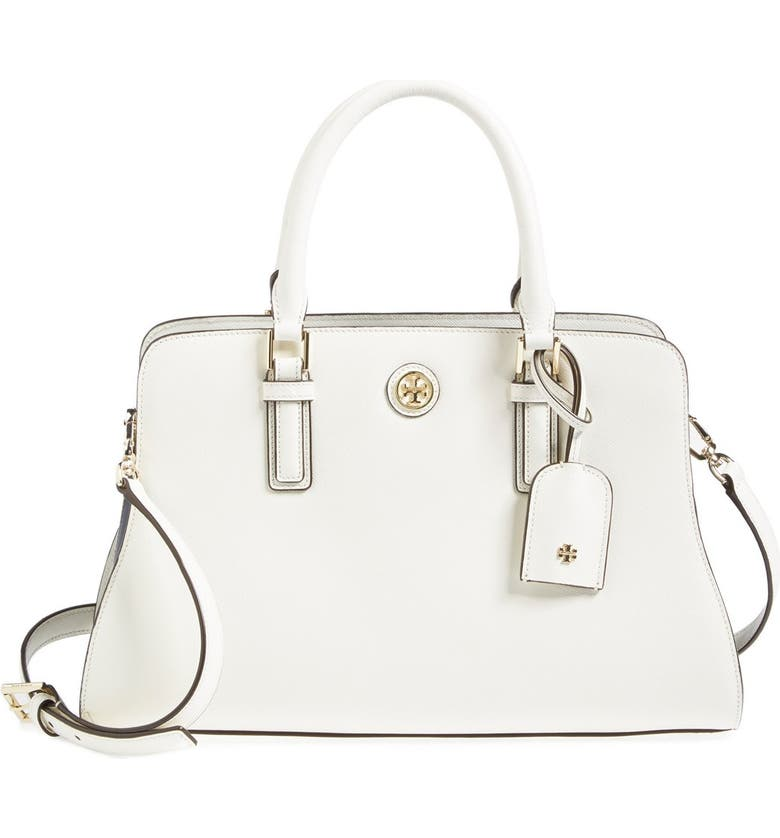 TORY BURCH 'Robinson - Curved' Leather Satchel, Main, color, 100