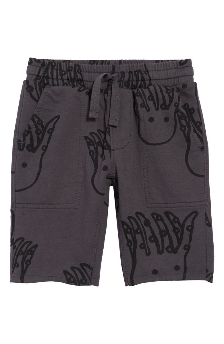 TEA COLLECTION Printed Knit Gym Shorts, Main, color, OCTOPI - PEPPER