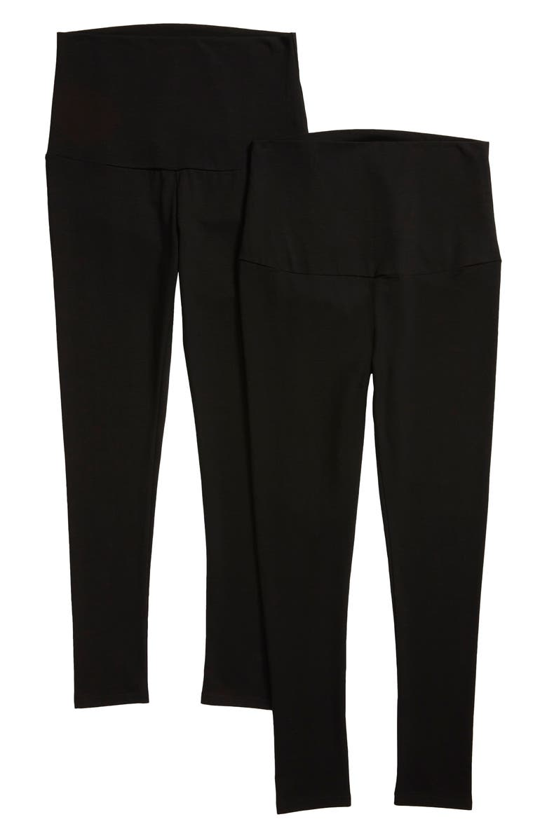 ANGEL MATERNITY 2-Pack Belly Support Maternity 7/8 Leggings, Main, color, Black