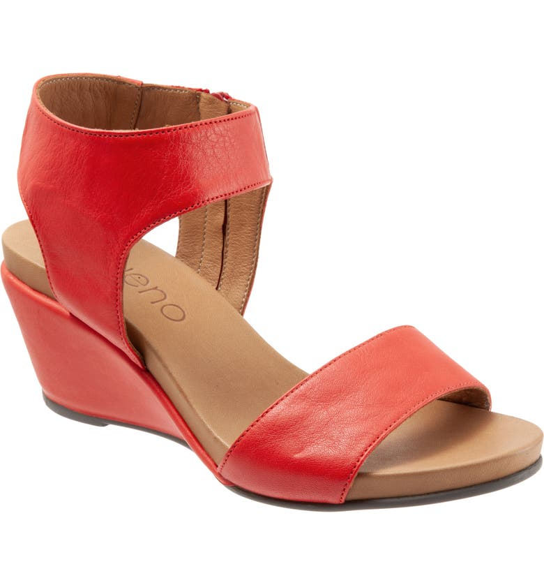 BUENO Ida Wedge Sandal, Main, color, RED LEATHER