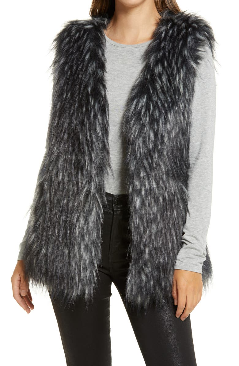 VIA SPIGA Faux Fur Vest, Main, color, BLACK