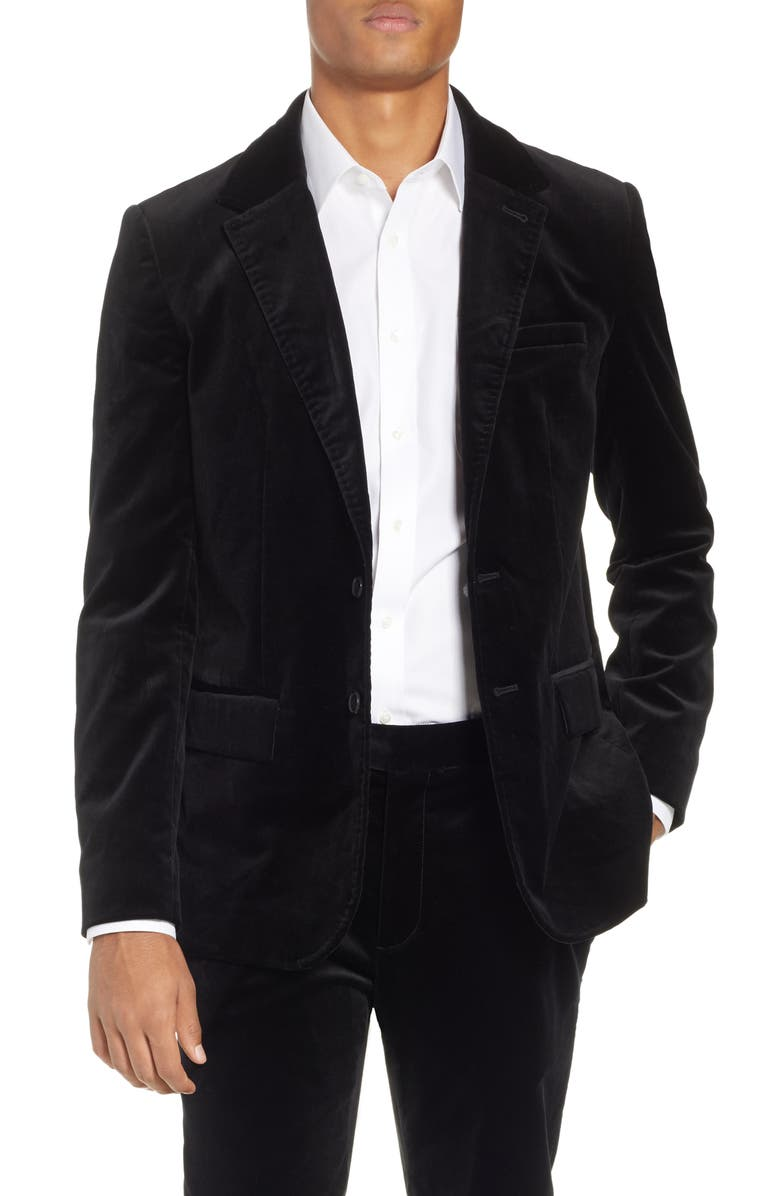 FRAME Slim Fit Stretch Velvet Blazer, Main, color, 001