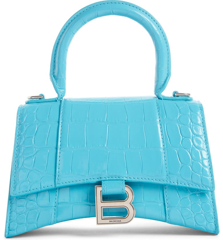 BALENCIAGA Extra Small Hourglass Croc Embossed Leather Top Handle Bag, Main, color, 400