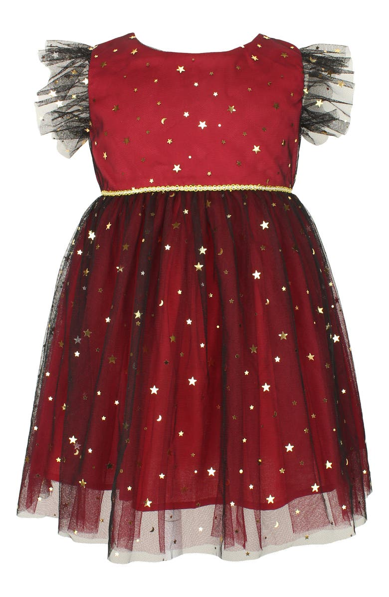 POPATU Kids' Foil Star Flutter Sleeve Dress, Main, color, RED/ BLACK