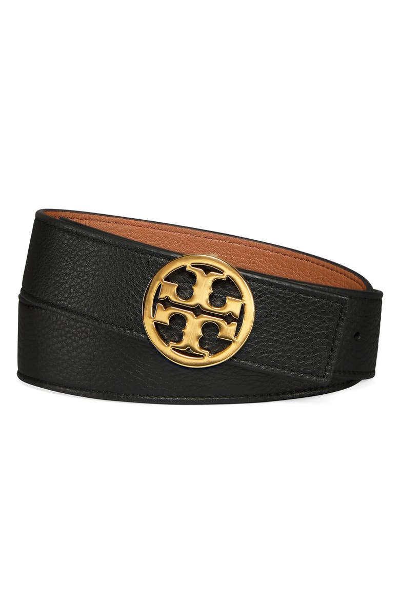 TORY BURCH Reversible Logo Belt, Main, color, BLACK/ NEW CUOIO/ GOLD