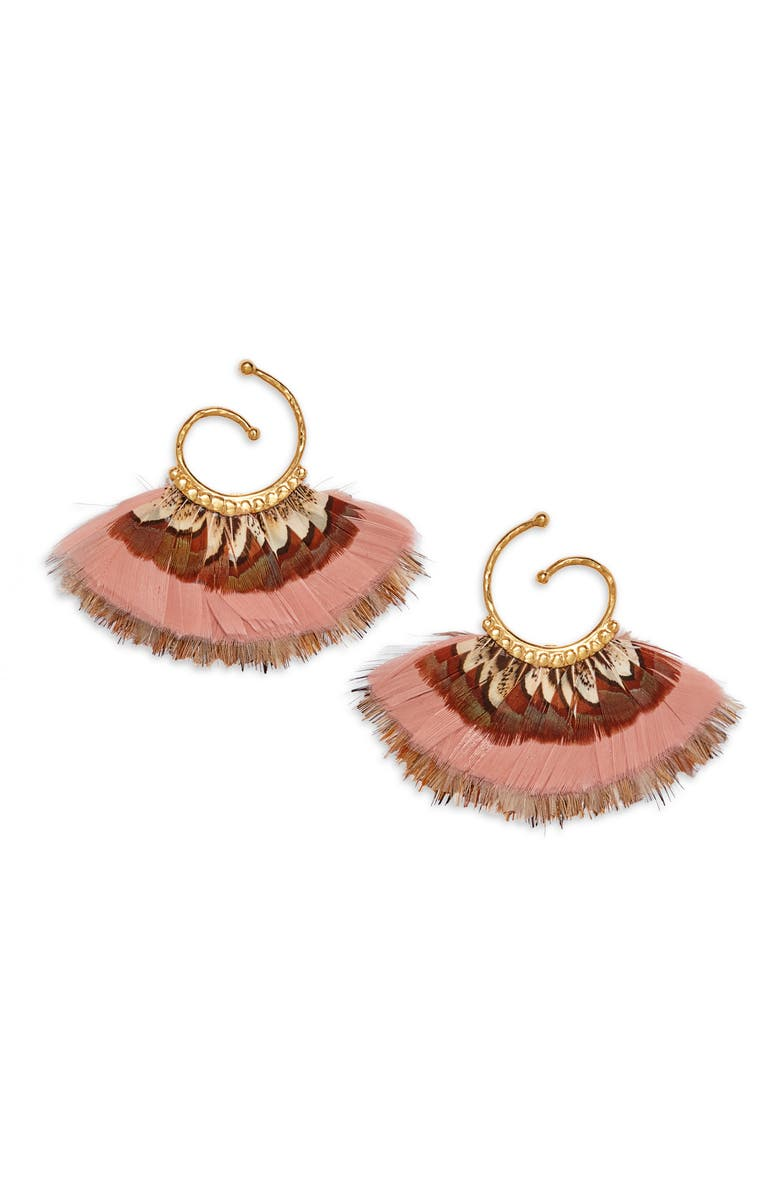 GAS BIJOUX Small Buzios Feather Earrings, Main, color, PASTEL PINK