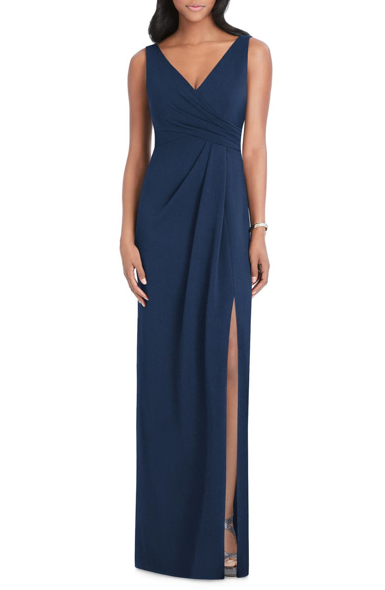 AFTER SIX Pleated Crepe Column Gown, Main, color, 410