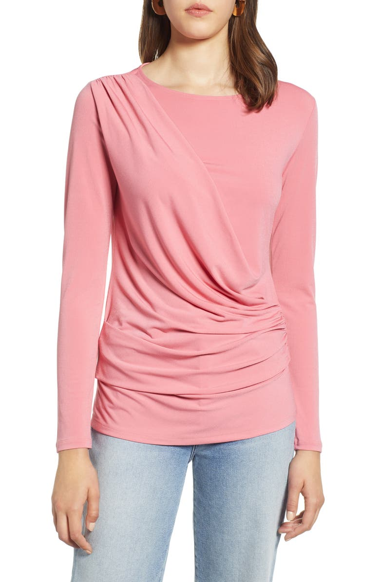 HALOGEN<SUP>®</SUP> Drape Front Jersey Top, Main, color, PINK CONFETTI
