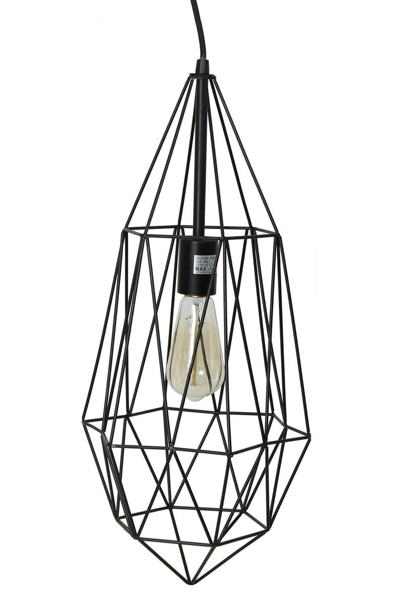 CRYSTAL ART GALLERY Caged Edison Bulb Pendant Lamp, Main, color, 001