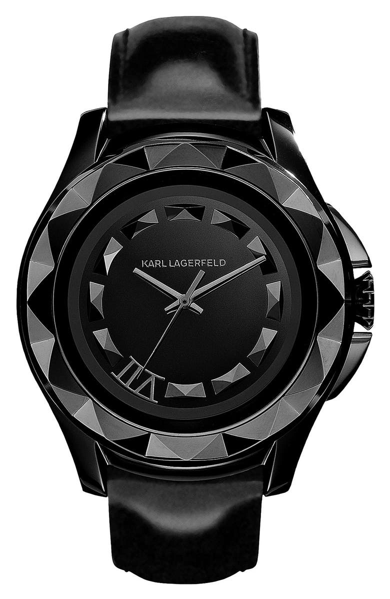 KARL LAGERFELD PARIS KARL LAGERFELD '7' Beveled Bezel Leather Watch, 43mm, Main, color, 001