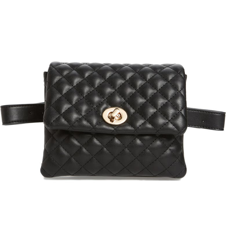 MALI + LILI Quilted Vegan Leather Convertible Belt Bag, Main, color, 001