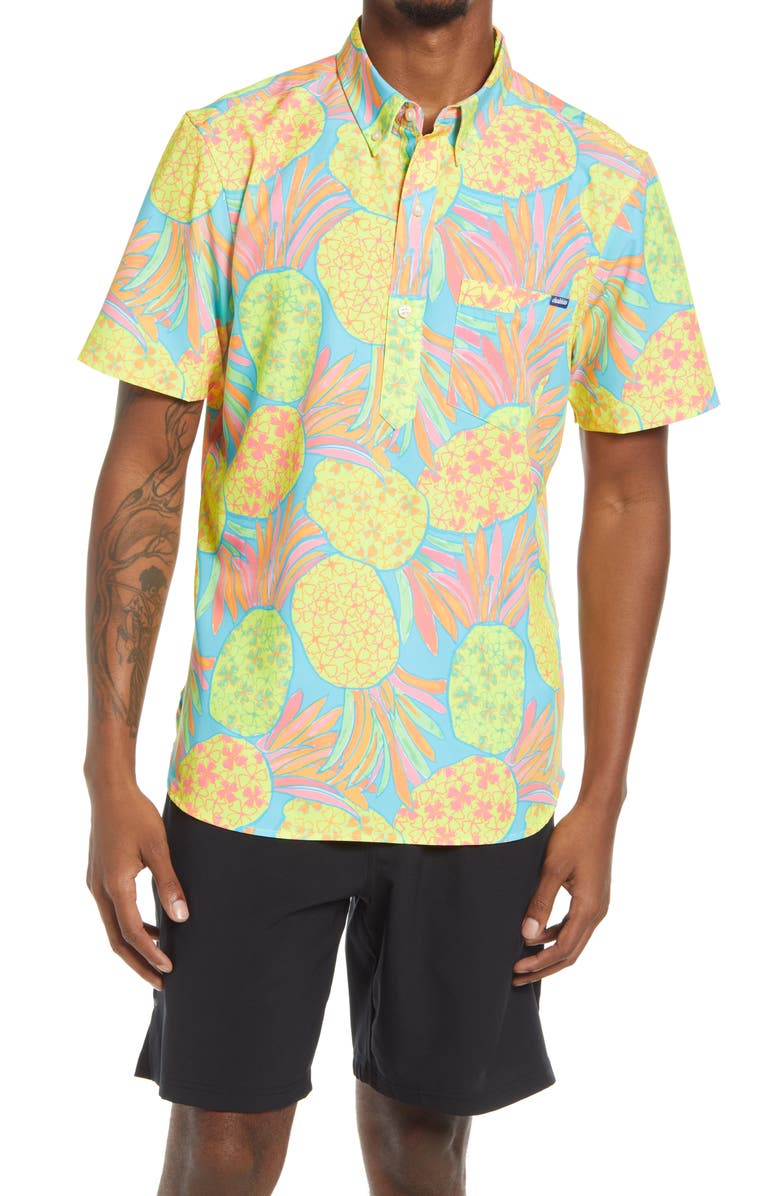 CHUBBIES The Pinetoppers Short Sleeve Stretch Button-Down Popover Shirt, Main, color, OPEN MISCELLANEOUS