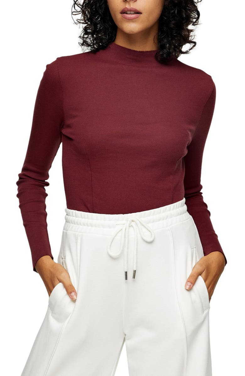 TOPSHOP Ribbed Funnel Neck Cotton Top, Main, color, BURGUNDY