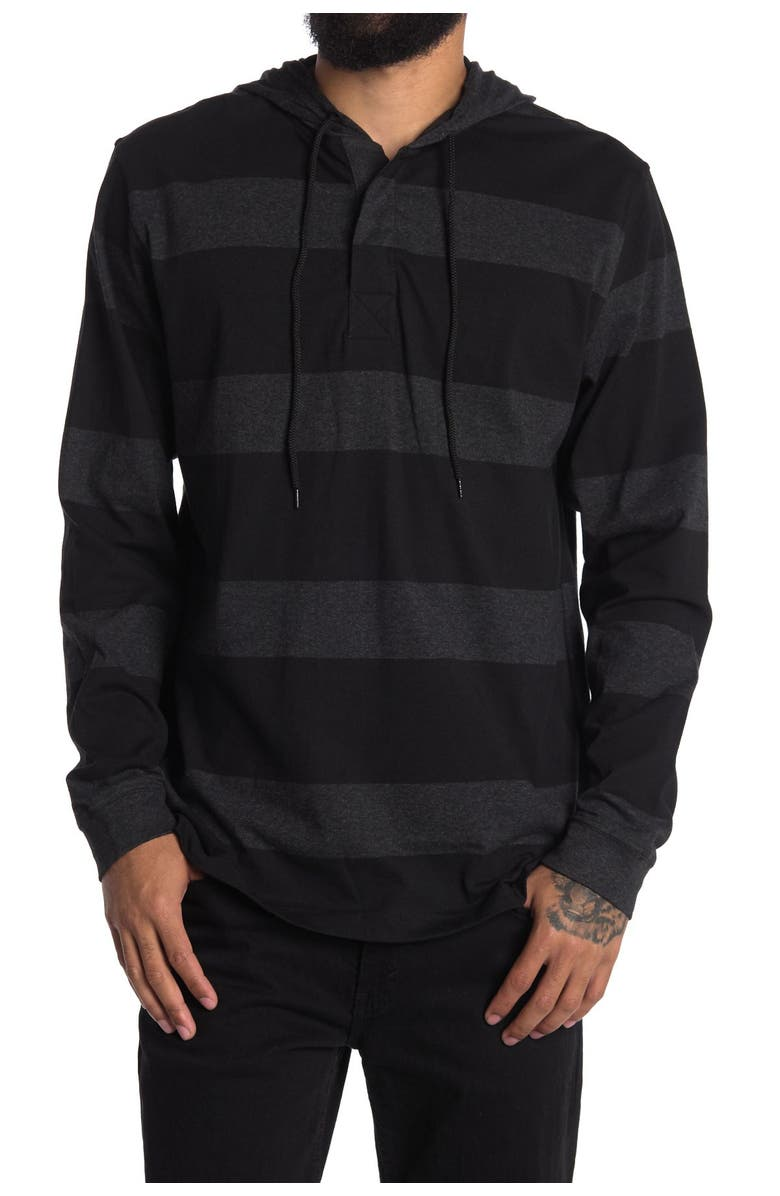BURNSIDE Rugby Striped Hoodie, Main, color, CHARCOAL