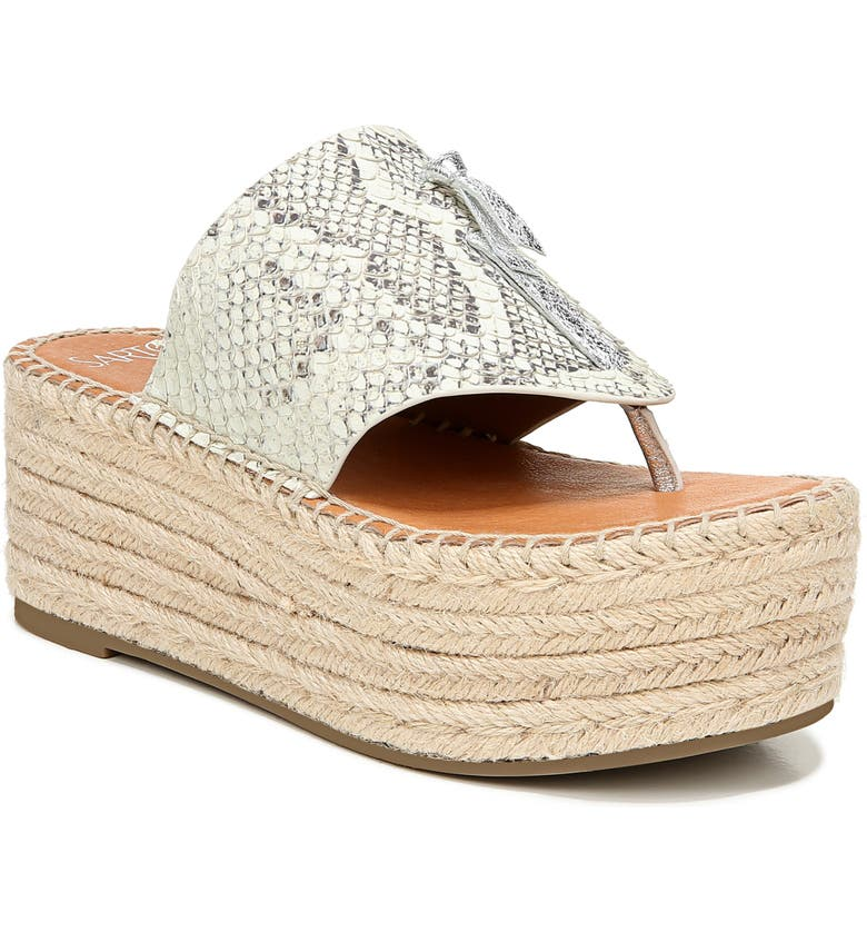 SARTO BY FRANCO SARTO Malia Espradrille Wedge Slide Sandal, Main, color, NATURAL SNAKE PRINT LEATHER