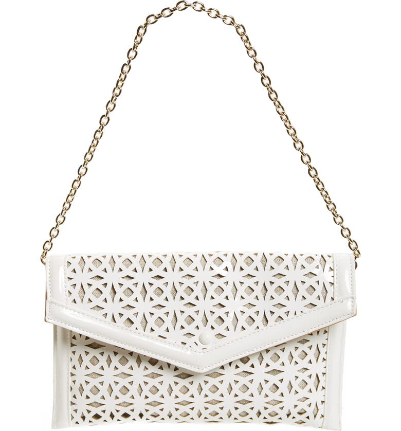 SONDRA ROBERTS Perforated Faux Leather Clutch, Main, color, 100