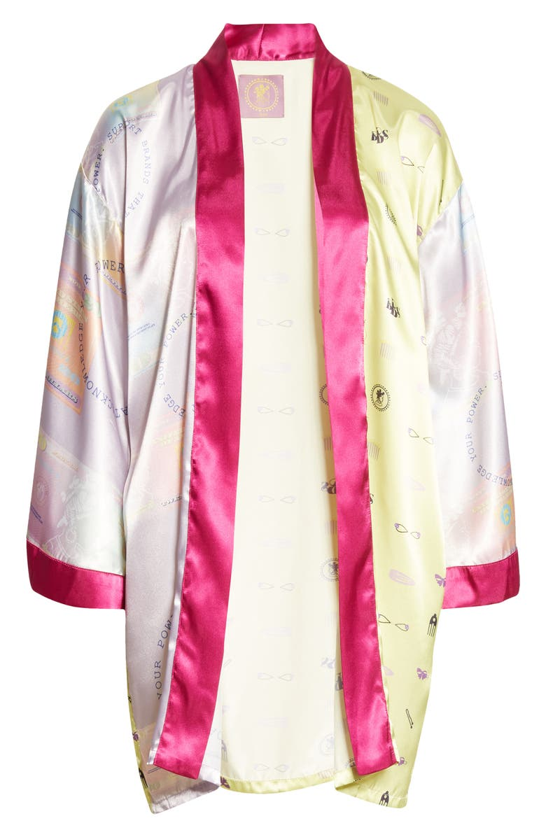 BEPHIES BEAUTY SUPPLY Mixed Panel Robe, Main, color, LAVENDER/ SUNNY LIME