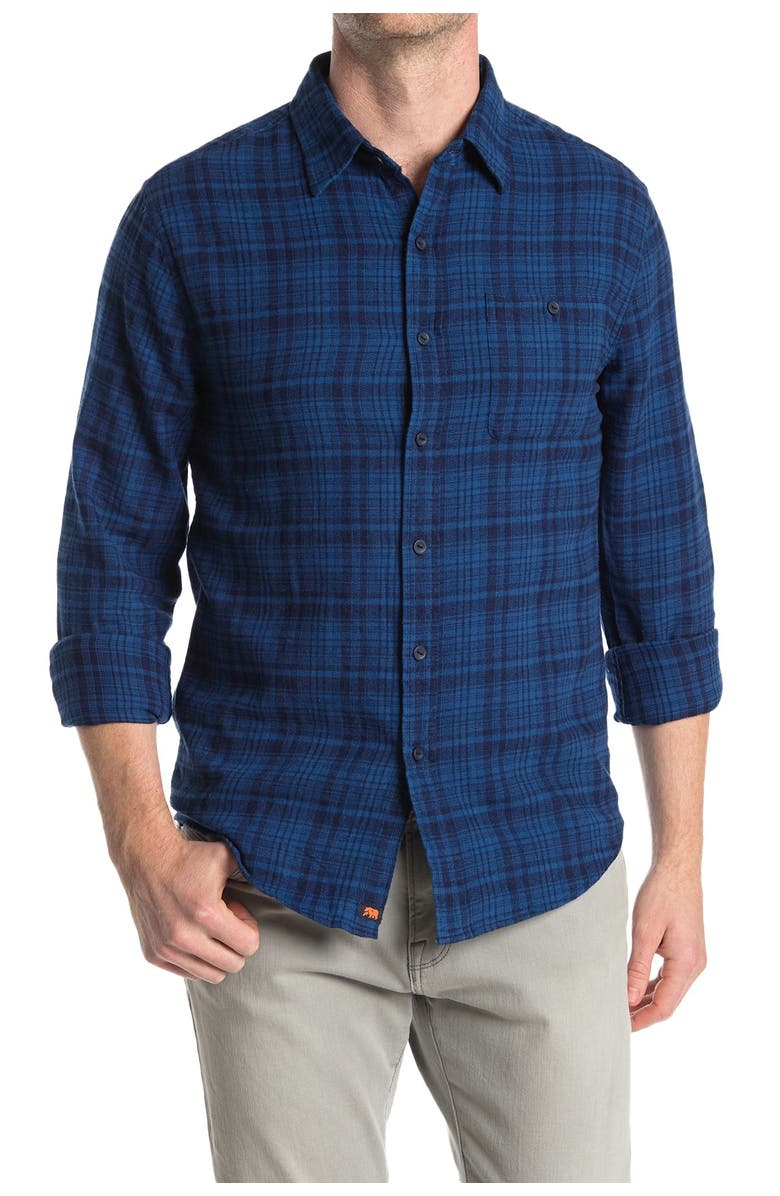 THE NORMAL BRAND Stephen Regular Fit Gingham Flannel Button-Up Shirt, Main, color, BLUE PLAID