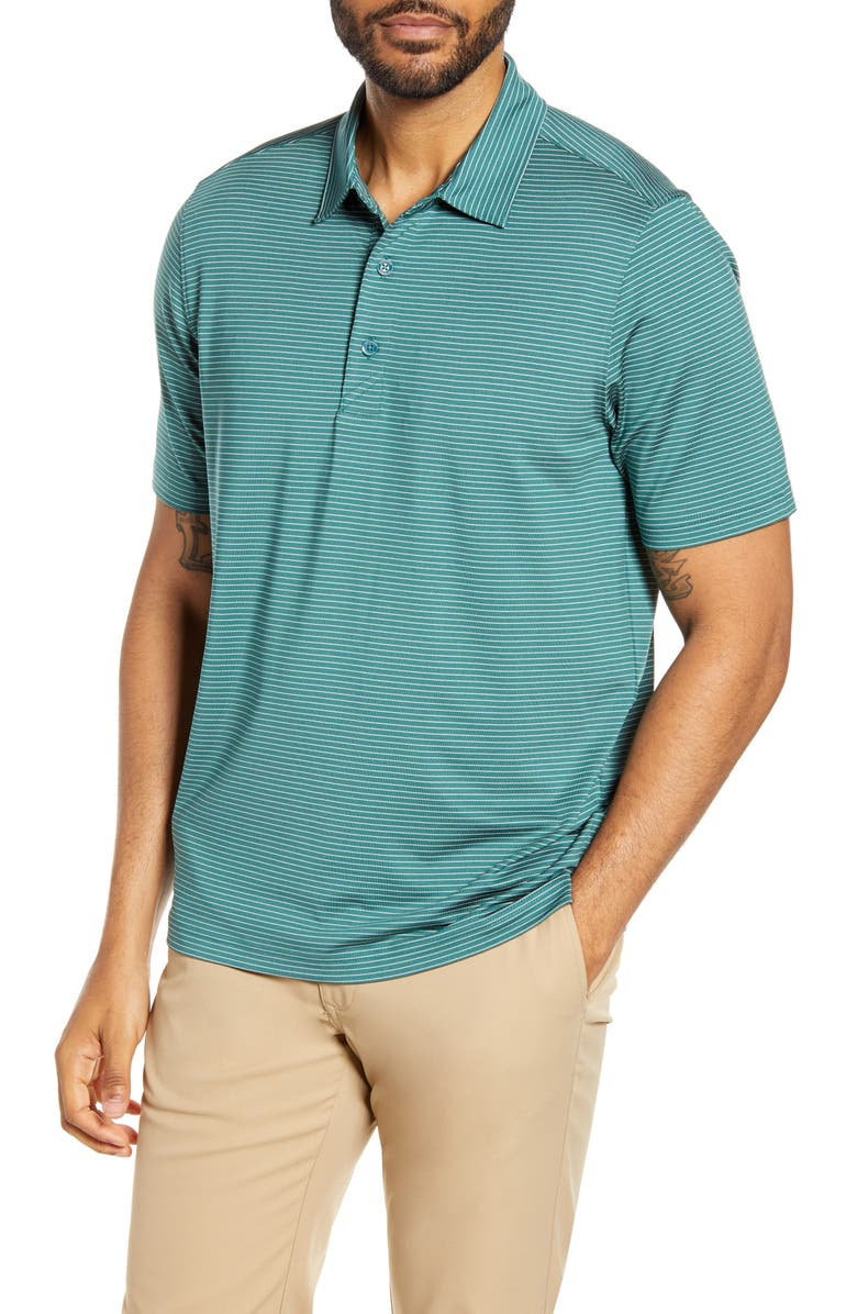 CUTTER & BUCK Forge DryTec Pencil Stripe Performance Polo, Main, color, SEAWEED