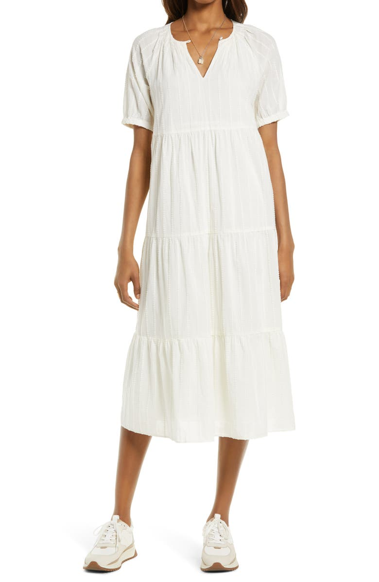 MADEWELL Textured Stripe Bubble Sleeve Tiered Midi Dress, Main, color, LIGHTHOUSE