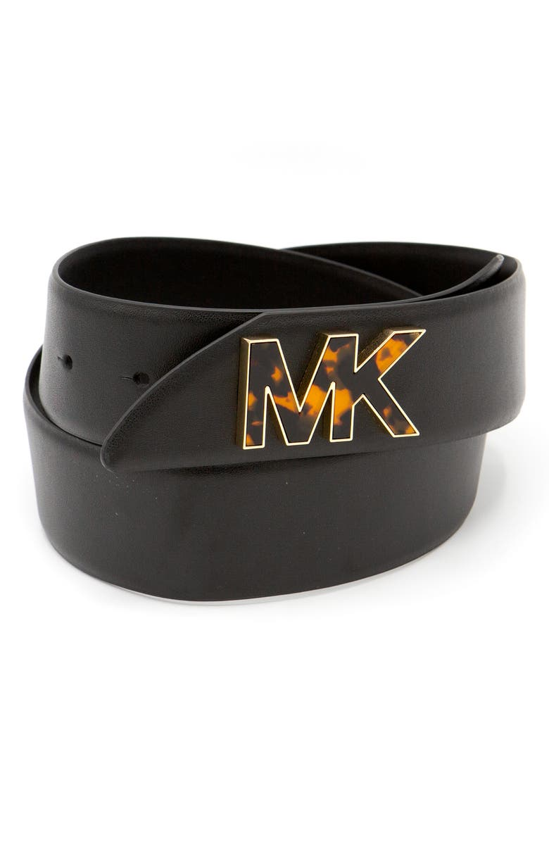 KORS MICHAEL KORS Logo Hardware Leather Belt, Main, color, BLACK