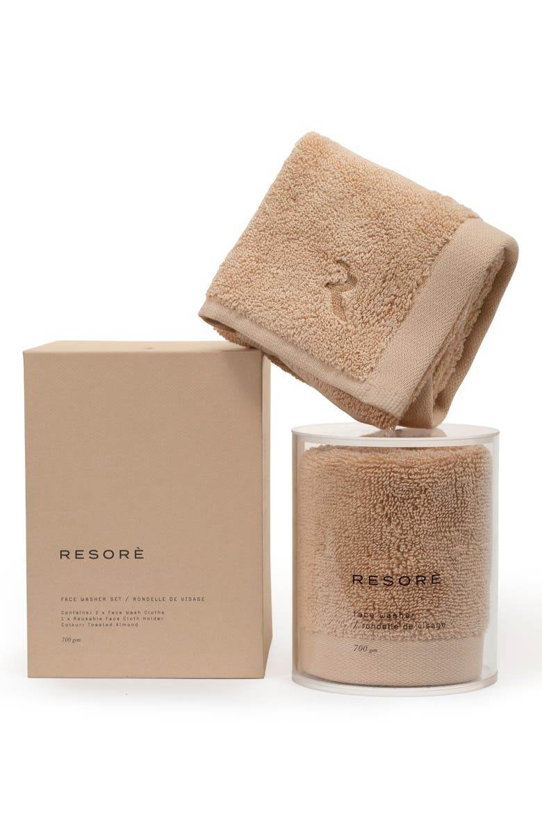 RESORE ̀ Set of 2 Washcloths, Main, color, TOASTED ALMOND