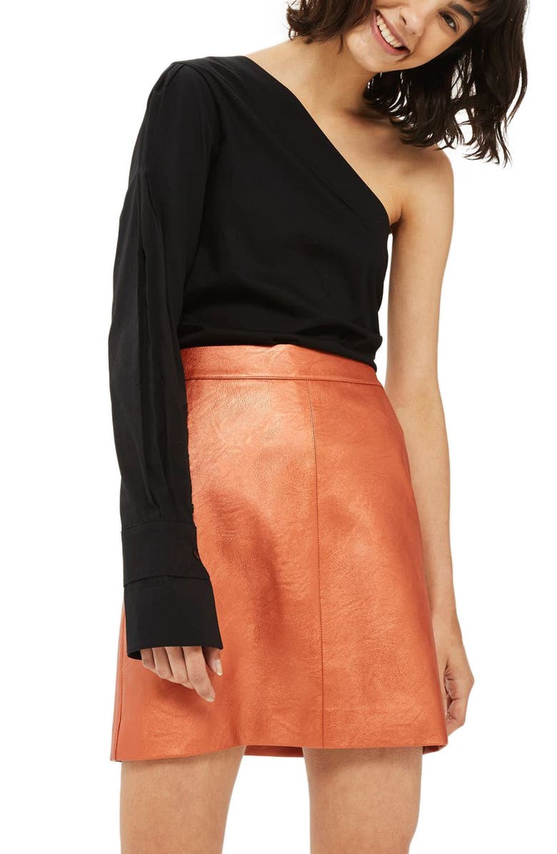 TOPSHOP Faux Leather Skirt, Main, color, 220
