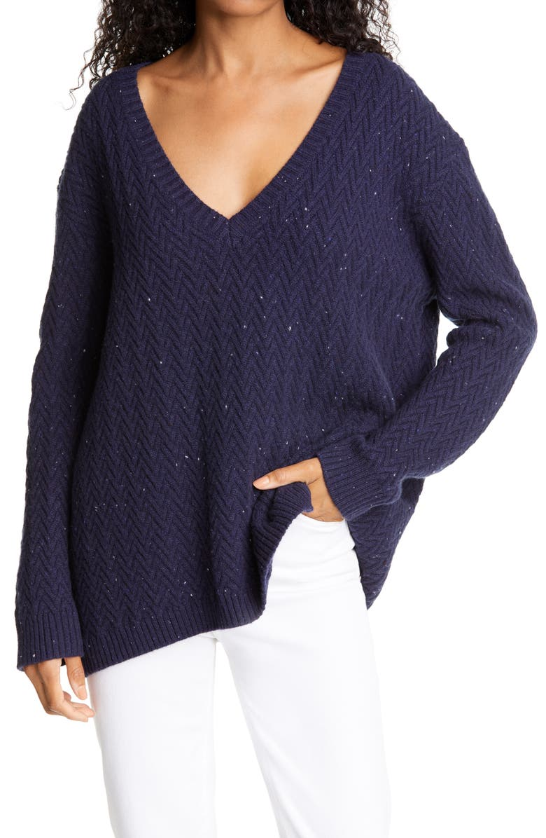 NORDSTROM SIGNATURE Chevron Knit Cashmere Sweater, Main, color, NAVY NEP