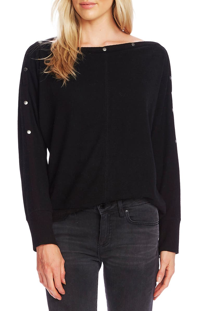 VINCE CAMUTO Snap Trim Dolman Sleeve Sweater, Main, color, 001