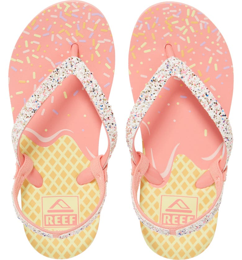 REEF Little Stargazer Print Flip Flop, Main, color, ICE CREAM
