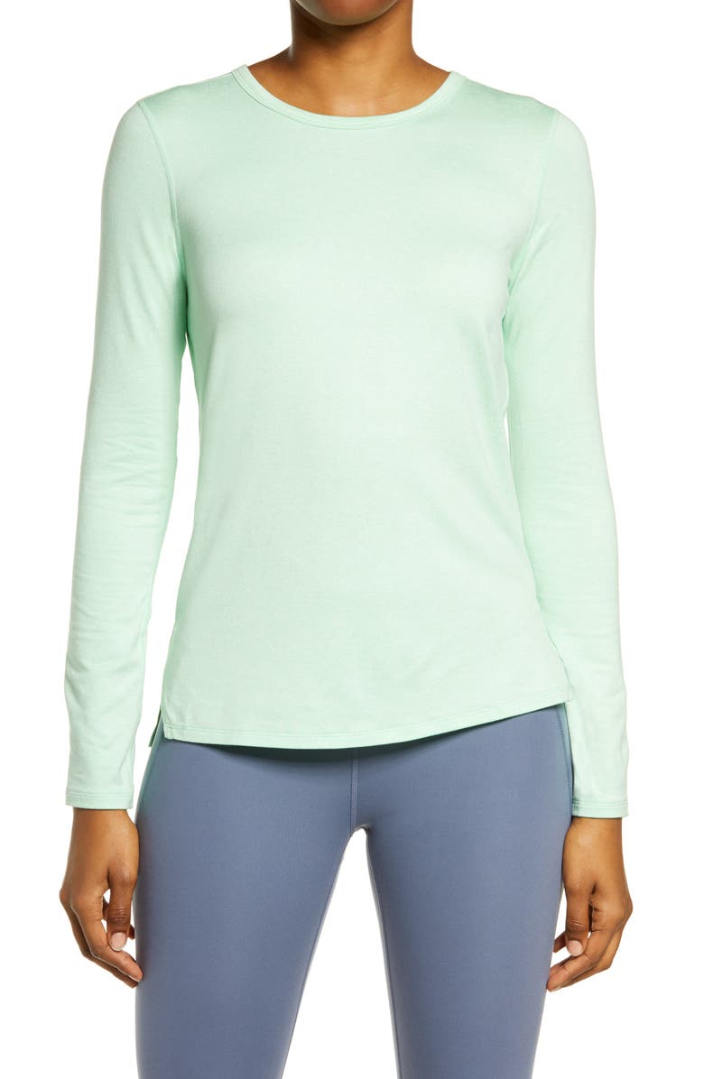 ZELLA Liana Long Sleeve Recycled Blend Performance T-Shirt, Main, color, GREEN ASH