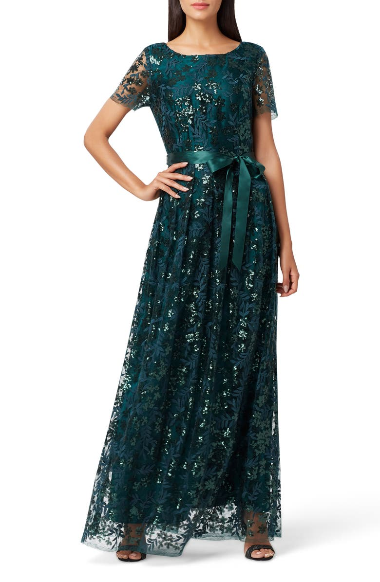 TAHARI Embellished Lace Gown, Main, color, 305