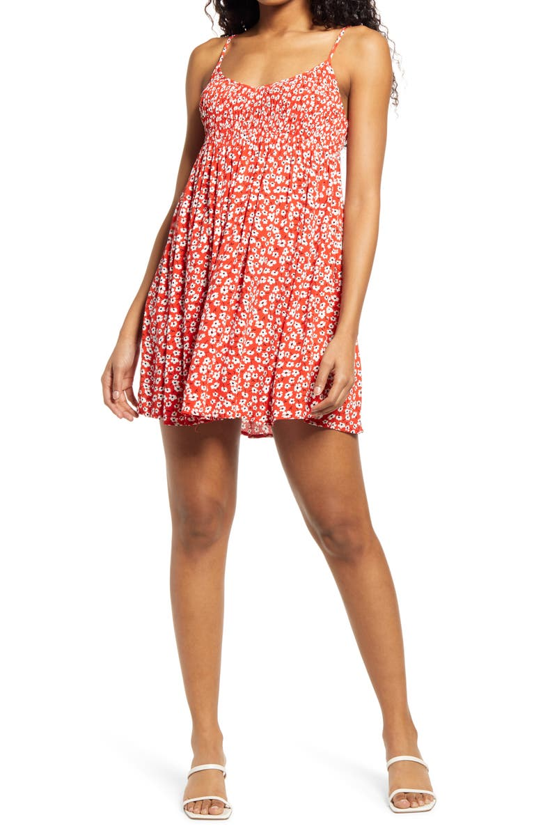 LULUS Floral Print Sundress, Main, color, RED/ WHITE