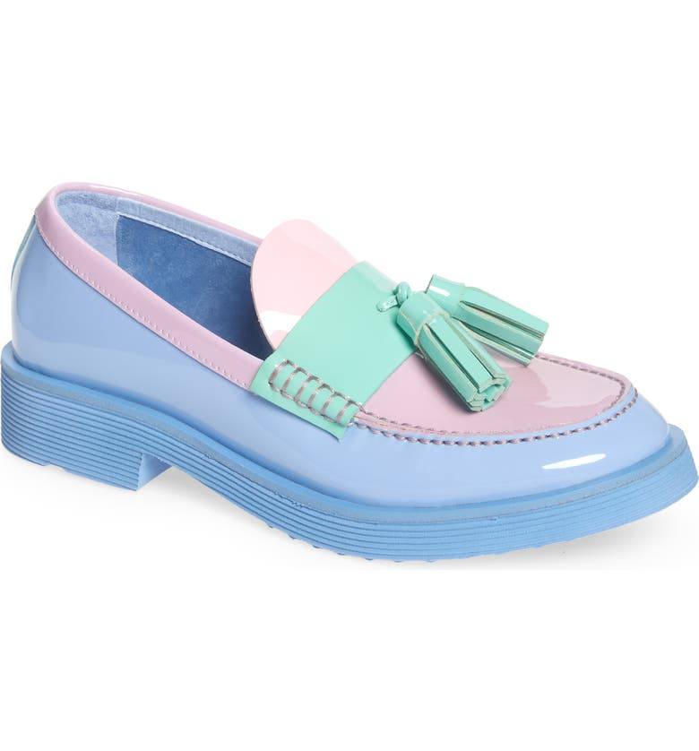 JEFFREY CAMPBELL Lenna Tassel Loafer, Main, color, PERIWINKLE PATENT MULTI