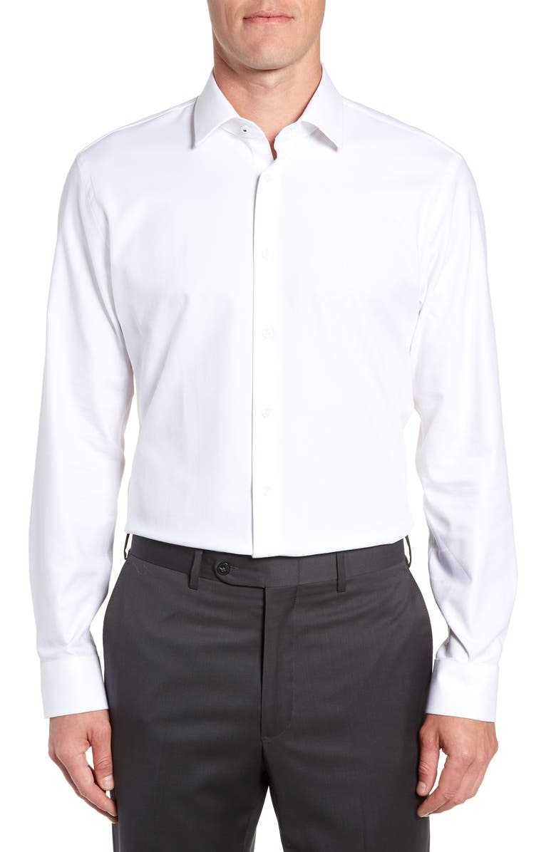 NORDSTROM MEN'S SHOP Nordstrom Tech-Smart Trim Fit Stretch Herringbone Dress Shirt, Main, color, WHITE