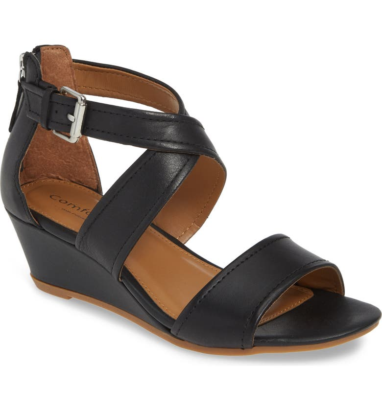 COMFORTIVA Rabea Wedge Sandal, Main, color, BLACK LEATHER