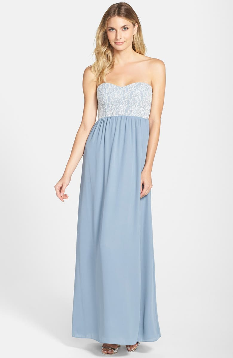 PAPER CROWN by Lauren Conrad 'Breanna' Lace Bodice Crepe Gown, Main, color, 020